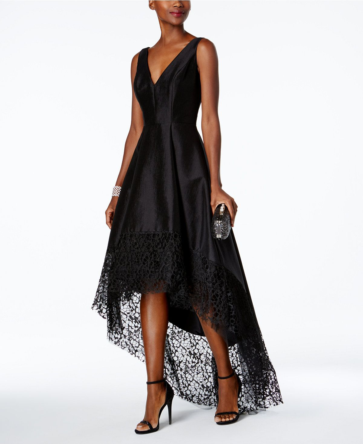 896e251fcd90 Betsy & Adam Lace-Trim High-Low Gown - Dresses - Women - Macy's ...