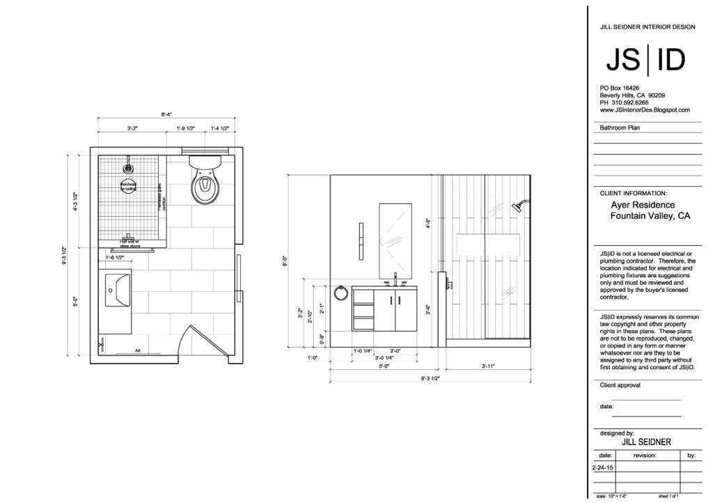 Fountain Valley, CA Residence Bathroom Plan & Elevation