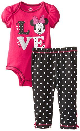 Disney Baby Girls Newborn Minnie Mouse Bodysuit And Pant Set Love