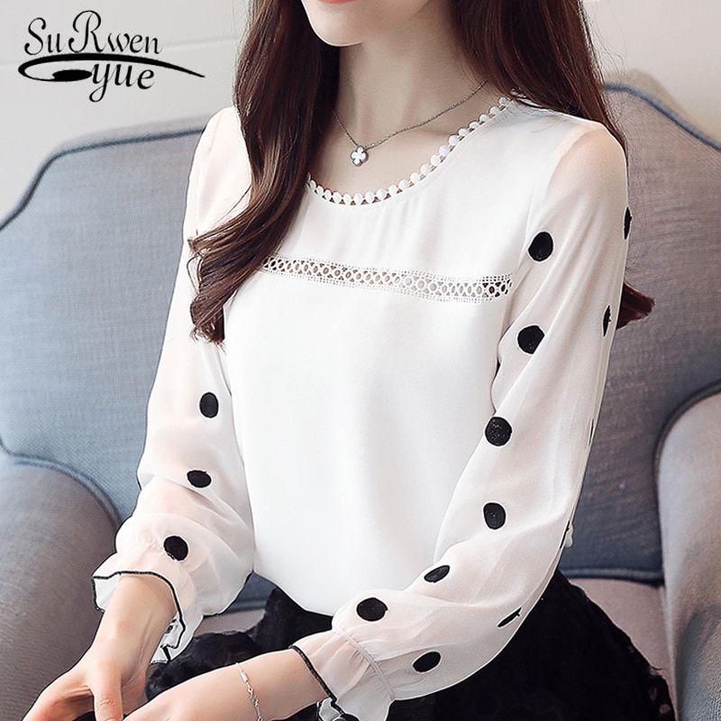 1d6de834f Barato Mulheres manga comprida blusa moda 2018 chiffon roupas doce o  pescoço das mulheres ponto preto branco feminino tops blusas d383 30