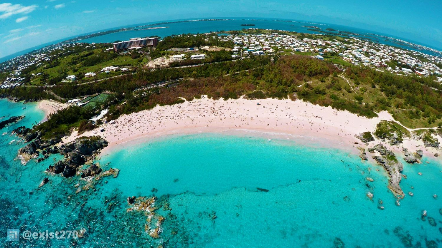 An aerial view of horseshoe bay beach
