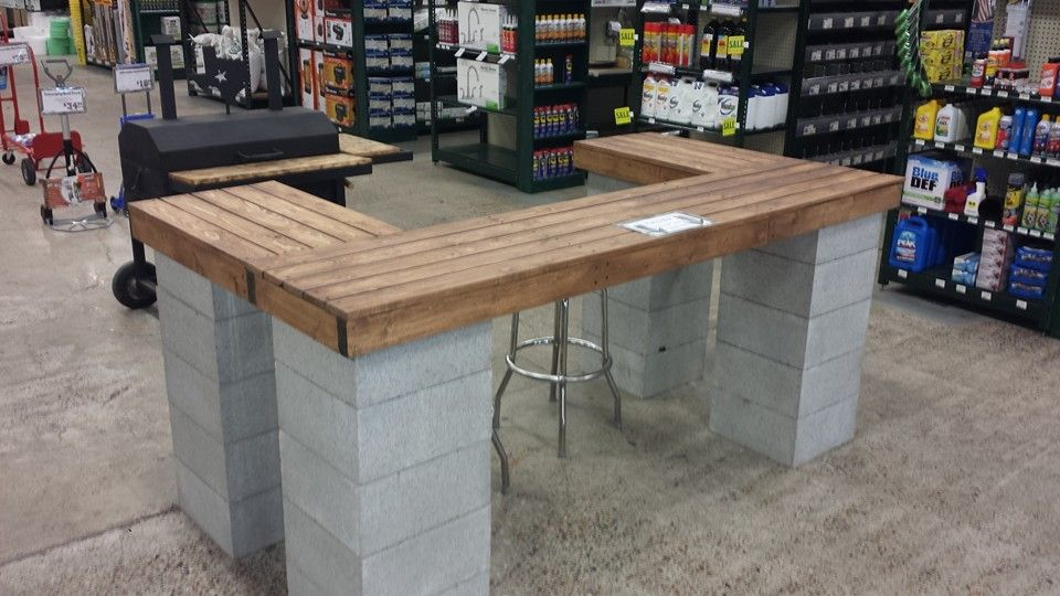 Cinder Block And Lumber Bar Www Mccoys Com Cinder Block Furniture Diy Patio Furniture Backyard Decor