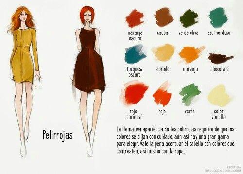 1a0c51aa07 Combinacion de color de Cabello Pelirrojo con color de ropa ...