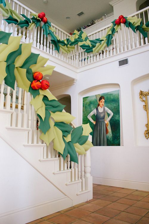 Oversized holly & berry paper garland - The House That Lars Built