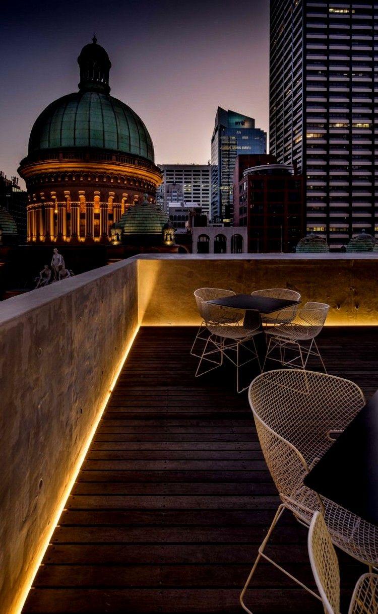Architektur Terrasse Beleuchtung Indirekte Led Balkon Dachterrasse Warmlicht Terrassenbeleuchtung Hinterhofbeleuchtung Balkon Dekor