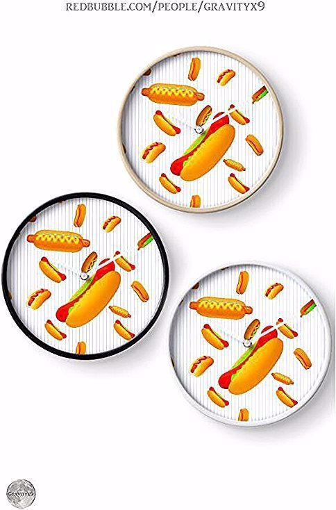 * Hot Dog Pattern Pinstripes Wall Clock by #Gravityx9 | Redbubble * Fun Hot Dog pattern for summer and year round * custom wall clock home decor ideas * wall clocks decor ideas * wall clocks custom * wall clocks customize * home decor clocks * home decor wall clocks * wall clock decor living room * wall clock decor kitchen * wall clocks round * #wallclock #clock #time  #walldecor #kitchenclock #homedecor   #hotdogs #wieners #frankfurters #playingwithfood  0120