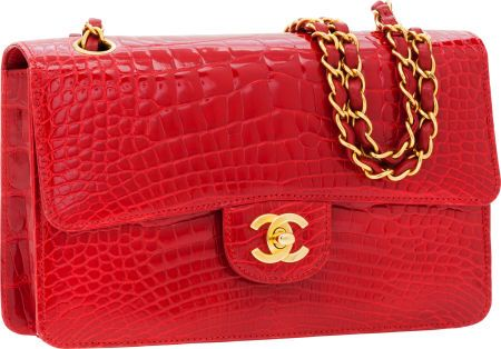 4749b8f80813d6 #Chanel Shiny Red #Crocodile Classic Rigid Medium Single Flap Bagwith Gold  Hardware