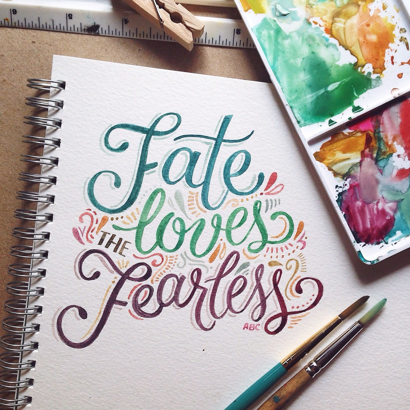A compilation of watercolor lettering work from july to