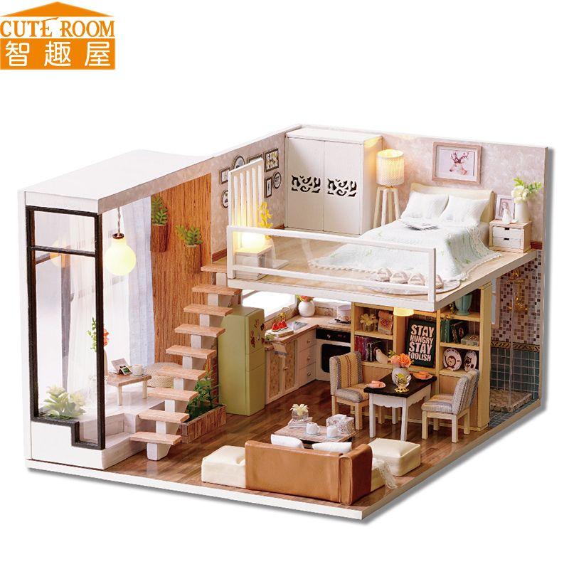 Montar diy juguete de casa de mu ecas de madera miniatura for Muebles para montar