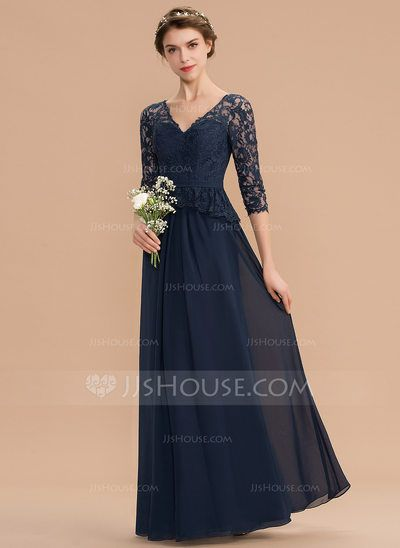 [US$ 124.00] A-Line V-neck Floor-Length Chiffon Lace Bridesmaid Dress With Ruffle (007176768) #lacebridesmaids