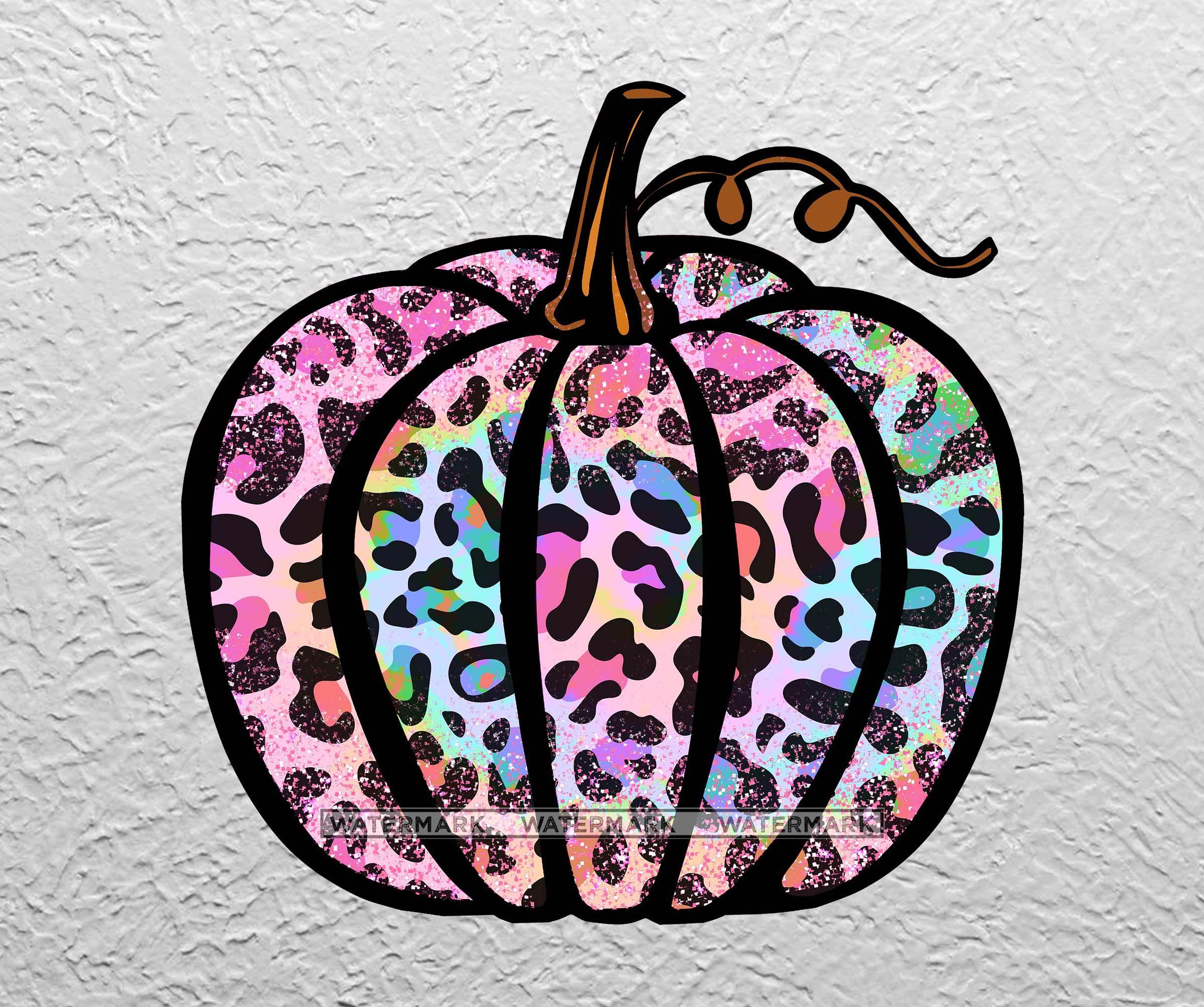 Leopard Tie Dye Pumpkin PNG Clipart Sublimation