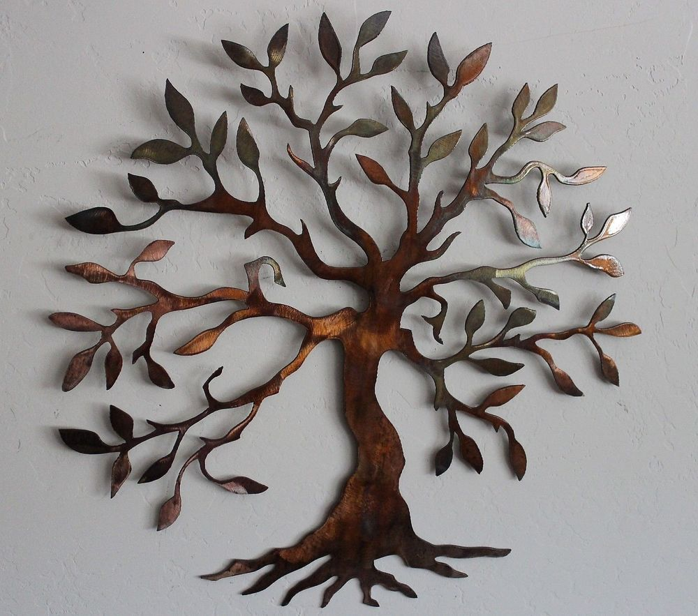 Olive tree tree of life metal wall art decor small