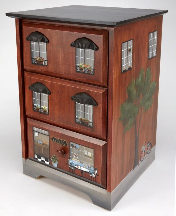 hand painted furnituretownhouse chest cityscape decor painted nightstand end table - Painted Wood Cafe Decoration