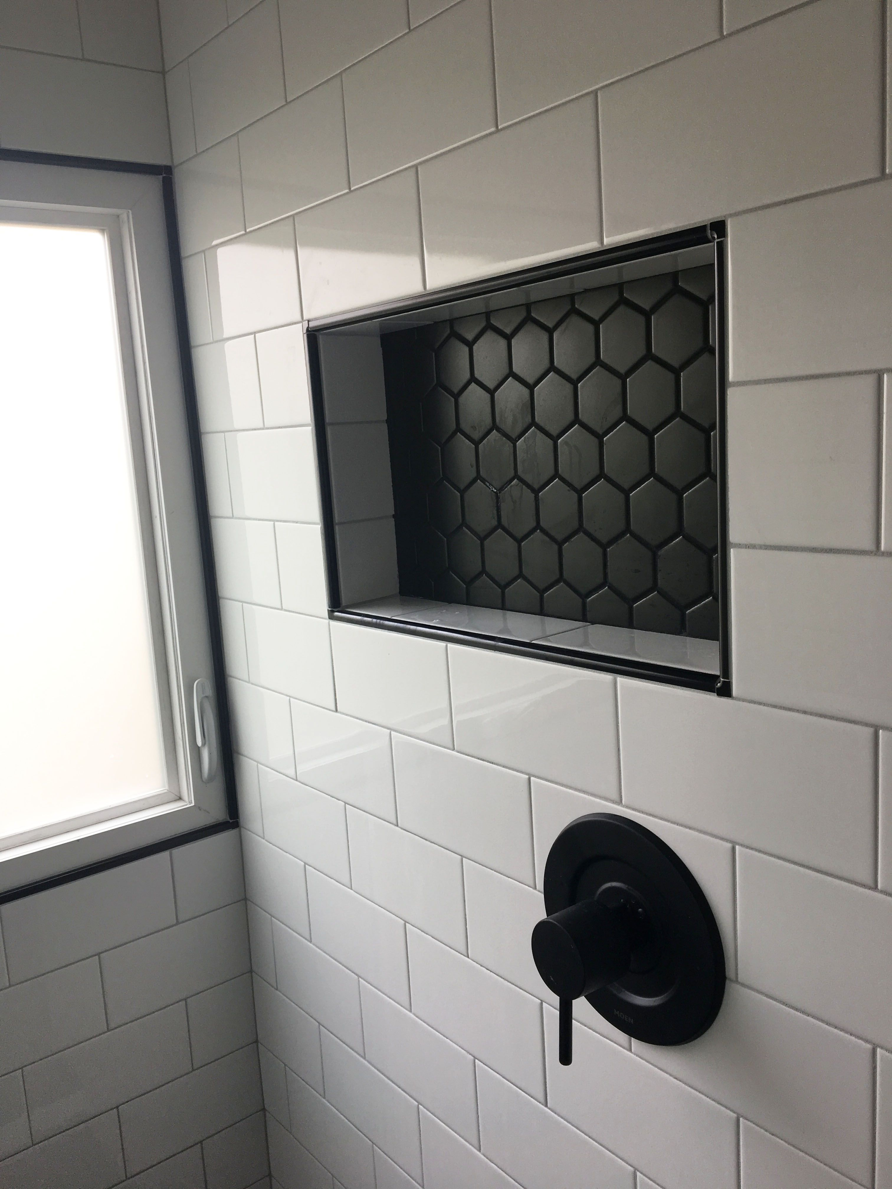 Finished Shower Addition White Tile Shower Bathroom Remodel Shower Bathroom Makeover