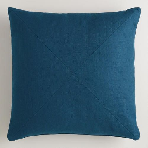 Night Blue Herringbone Cotton Throw Pillow From Cost Plus