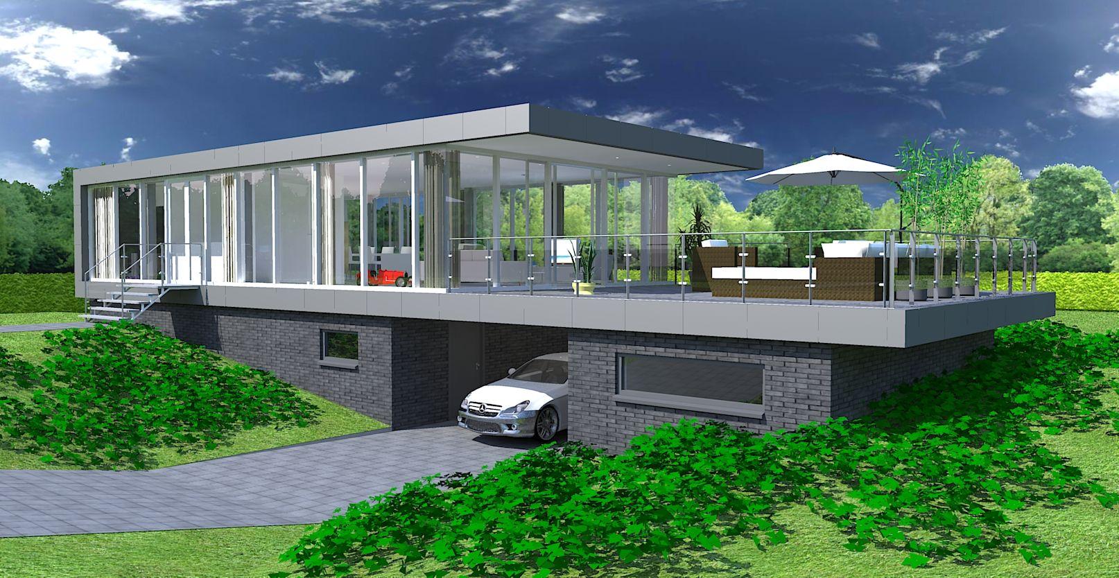 Deze woning is geïnspireerd op een drive-in woning. Het woonprogramma met dakterras bevinden zich op de bovenverdieping, hierdoor ontstaat een mooi overzicht over het omliggende gebied. De verdiepte benedenverdieping biedt ruimte aan de slaapkamers die met in zomerse dagen heerlijk koel blijven. Door het gebruik van metaal voor de randafwerking en de donkere baksteen van de benedenverdieping lijkt de woning te zweven boven het landschap. #woning #modern #architectuur #villa #glas…