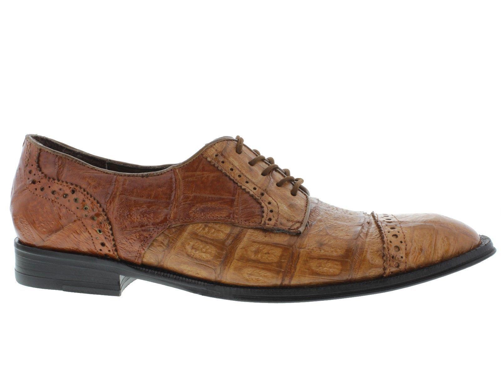 Men's dress shoes brown genuine crocodile alligator skin oxfords loafers cognac