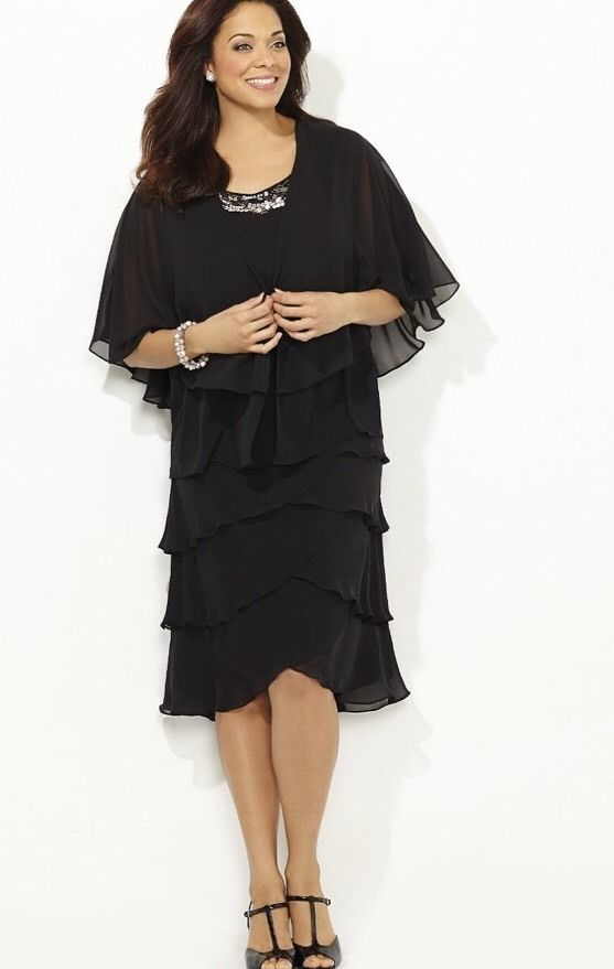 Catherines Sheer Romance Jacket Dress Black Plus Size 22w