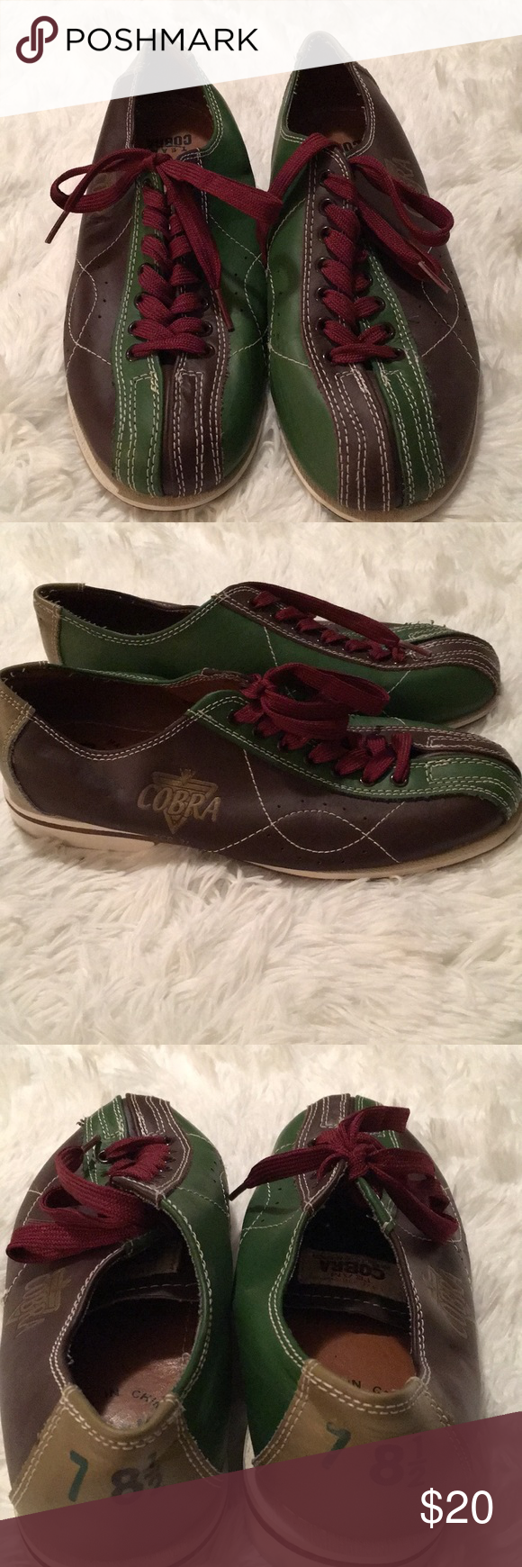 ceb312c453ee Cobra TCR - 3 L Men s Bowling Shoes Pair of 7-8 1 2 Brown Green Men s  Bowling Shoes. Why pay those rental fees when you can own your own! Cobra  Shoes