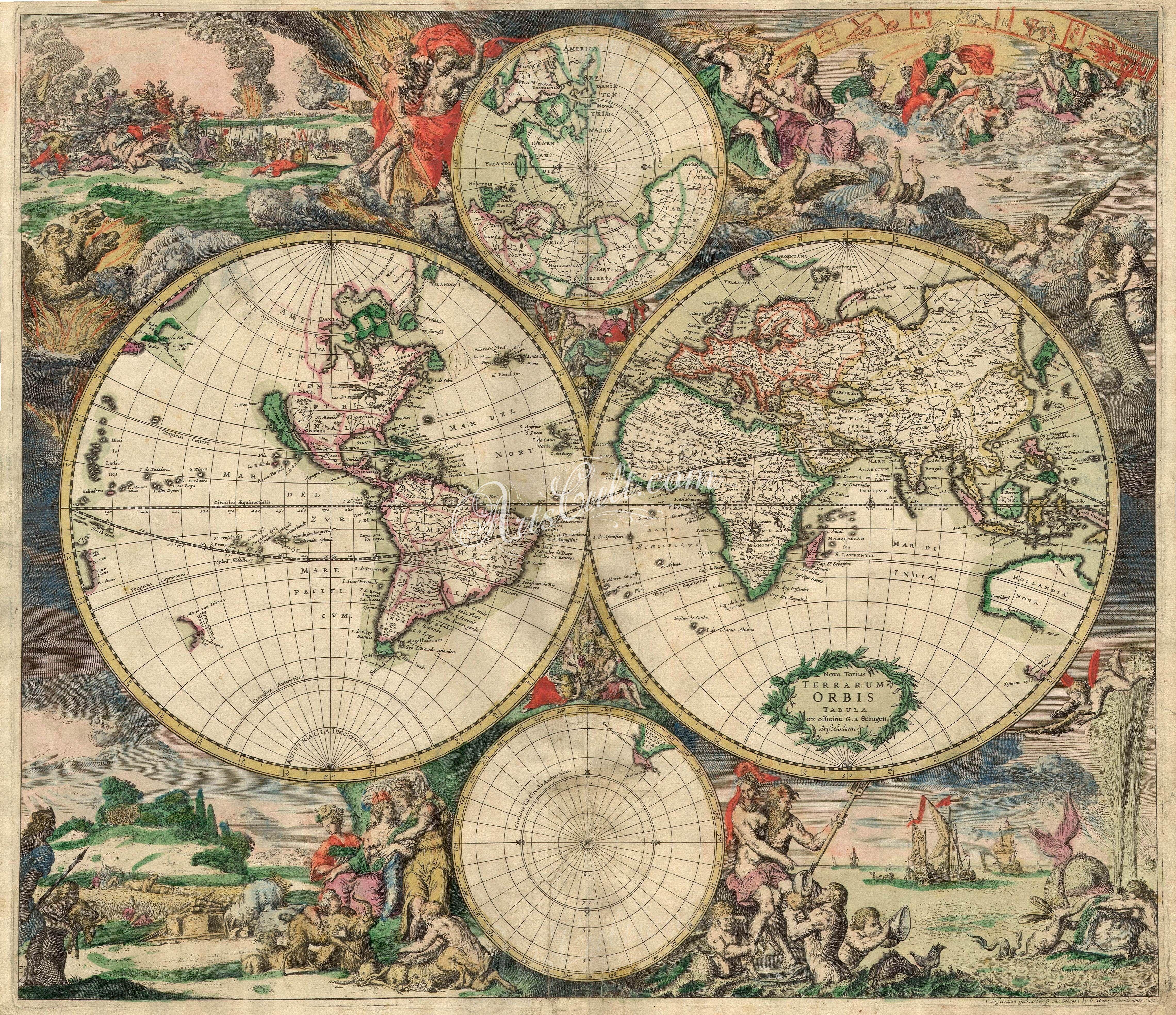 World map 1689 artscult best pinterest antique maps world map 1689 gumiabroncs Gallery
