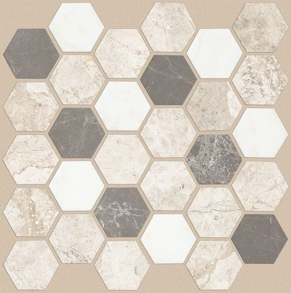 boca hexagon mosaic cs79k seamist tile stone wall. Black Bedroom Furniture Sets. Home Design Ideas