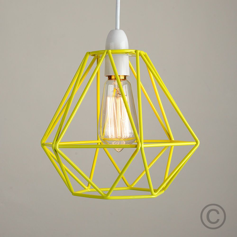 Modern Yellow Metal Wire Frame Ceiling Light Pendant Shade Industrial Lightshade : wiring for pendant lights - yogabreezes.com