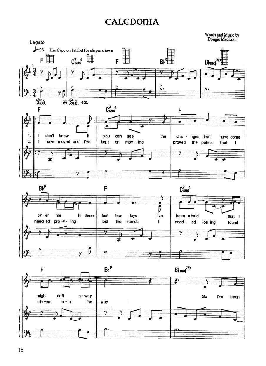 Dougie Maclean Caledonia Piano Sheet Music Sheet Music Piano