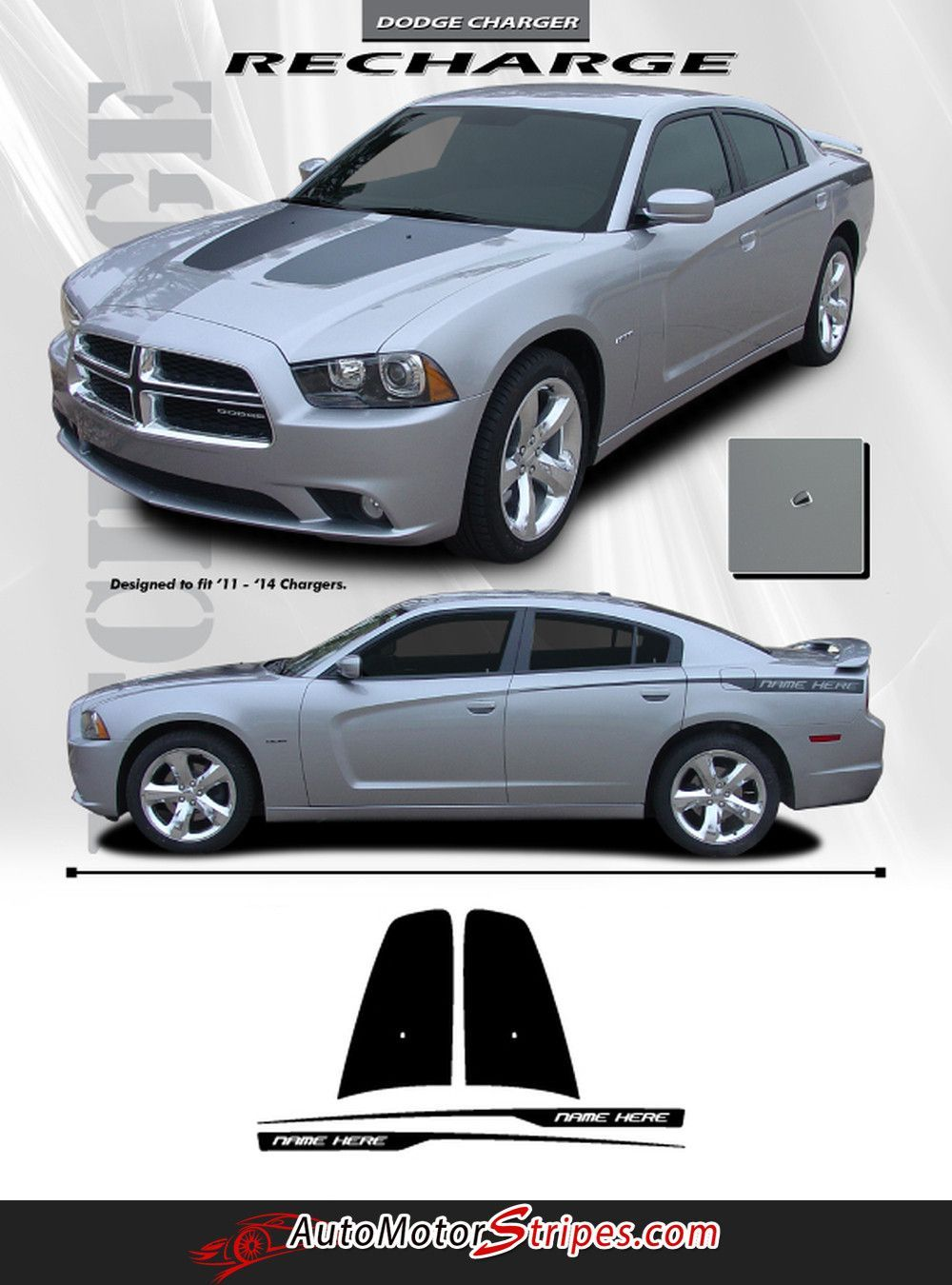 2011 2014 dodge charger split hood mopar factory style vinyl graphics 3m stripe decal