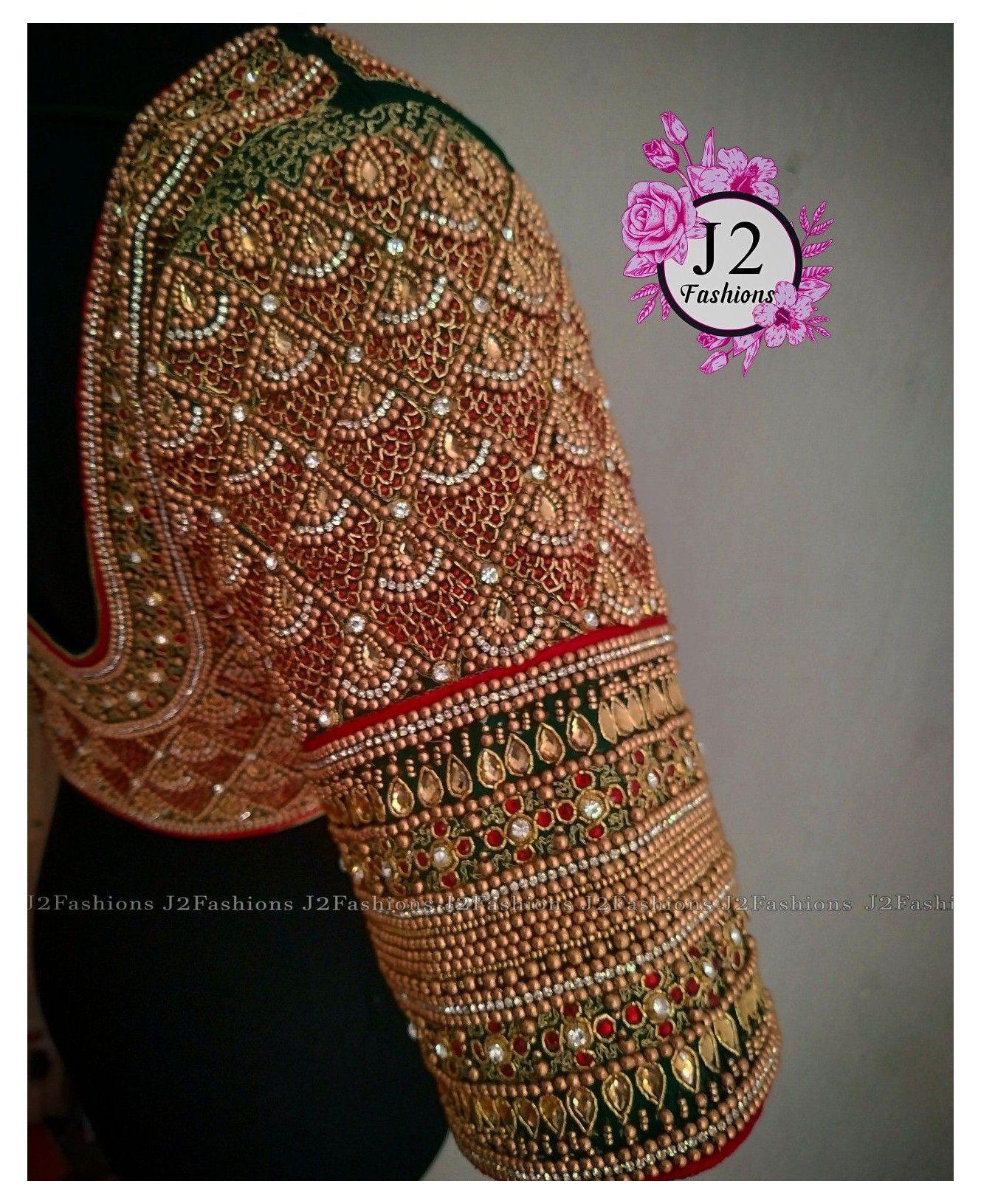 Readymade saree blouse with antique beads aari hand  work Ready to wear women\u2019s sari top size 36\u201d adjustable up to 38\u201d