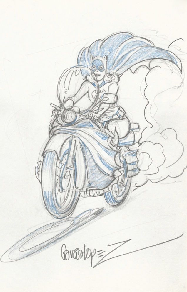 Jose Luis Garcia Lopez Original Batman Art Sketch Batgirl On Batcycle