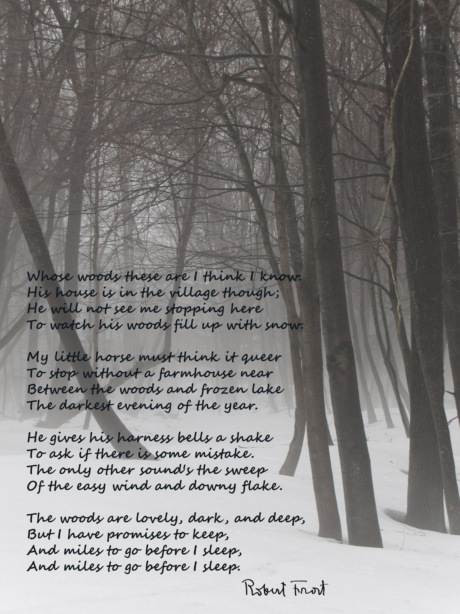 "essay on poem stopping by woods Free essay: an analysis of stopping by woods on a snowy evening the images in the poem ""stopping by woods on a snowy evening"" by robert frost are very vivid."