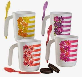 HI-HO HI-HO WITH TUPPERWARE WE GO: This Beautiful Mug Set is Currently on Sale Save $12.00 now on this beautiful mug set,. Comes with matching spoons for serving ice cream or small shakes. You can place your order and/or check out the other sale items by visiting my website at www.my.tupperware.com/lindacwilson