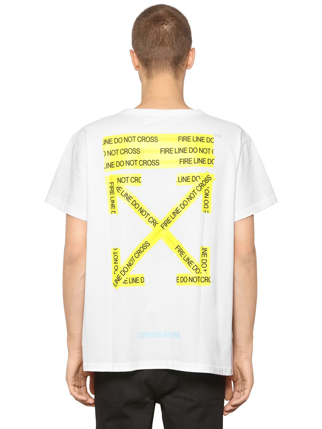 db6bc730b44f OFF-WHITE OVERSIZE FIRE LINE TAPE JERSEY T-SHIRT.  off-white  cloth ...