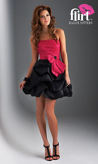 This strapless homecoming dress or teen cocktail party dress is chic, youthful, and feminine. A strapless short dress for homecoming or semi formal affairs that features a ruched bodice with a flattering lace up back and bow accent. The short skirt on this strapless dress has a bubble hemline that adds a trendy touch to a classic short strapless dress.