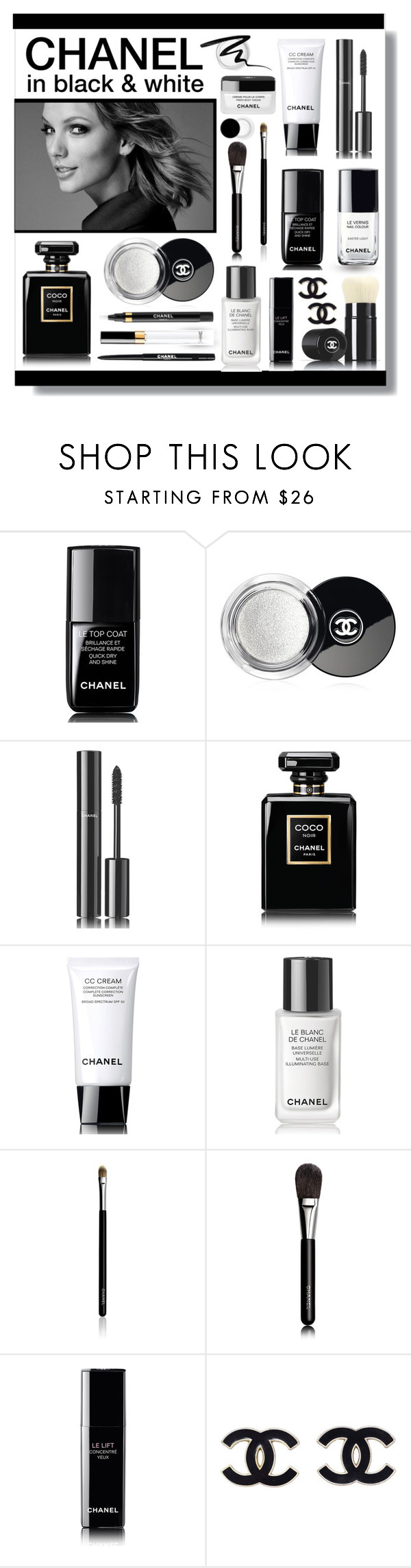 """CHANEL in black & white"" by lgb321 ❤ liked on Polyvore featuring beauty, Chanel, Too Faced Cosmetics, blackandwhite and beautyset"