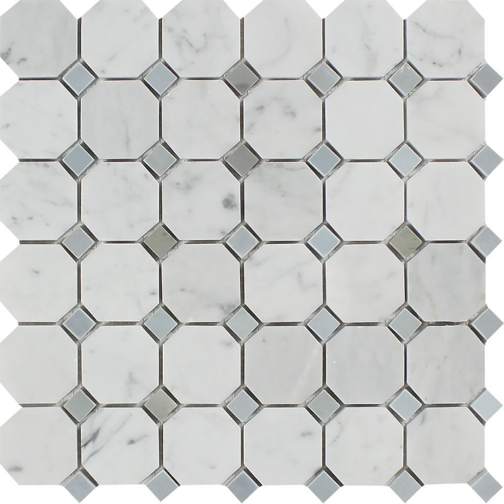 Bianco Carrara Honed Marble Octagon Mosaic Tile (w/ Blue-Gray Dots ...