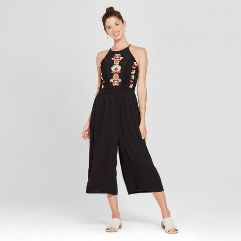 Womens Strappy High Neck Embroidered Cropped Jumpsuit Xhilaration