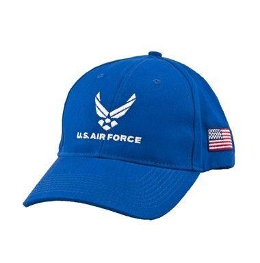 ac2cbe6de8a U.S. Air Force Cap Color - Royal Blue with embroidered military emblem   USA  flag on