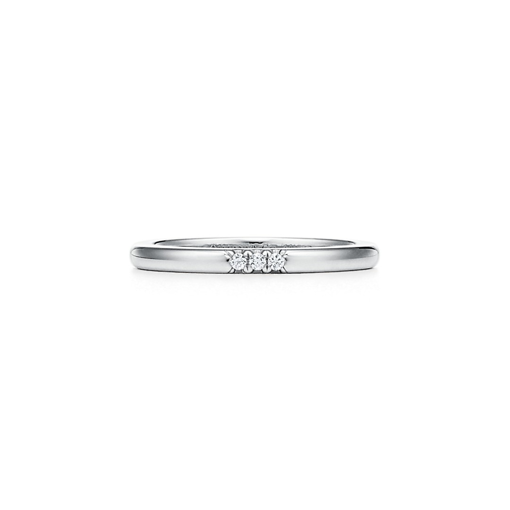 Tiffany Classic Wedding Band Ring In Platinum With Diamonds 2 Mm Wide Tiffany Co Wedding Ring Bands Tiffany Wedding Band Classic Wedding Band