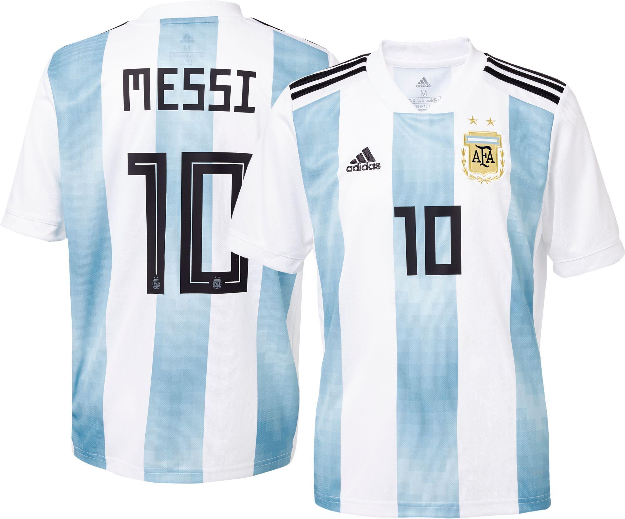 reputable site d3227 f35a8 adidas Youth Argentina Lionel Messi #10 Stadium Home Replica ...