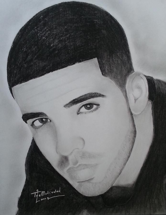 Drawings Of Rappers Drake Charcoal Drawing By Lance Freeman