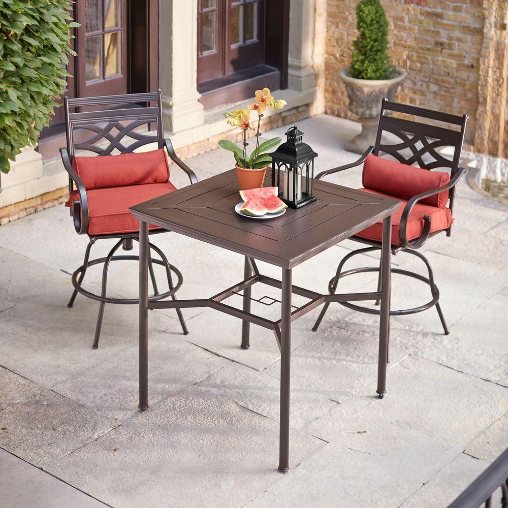 Hampton Bay Middletown 3 Piece Motion High Patio Dining Set With Dragonfruit Cushions D11200 3 Bar Height Patio Furniture Patio Dining High Top Patio Furniture