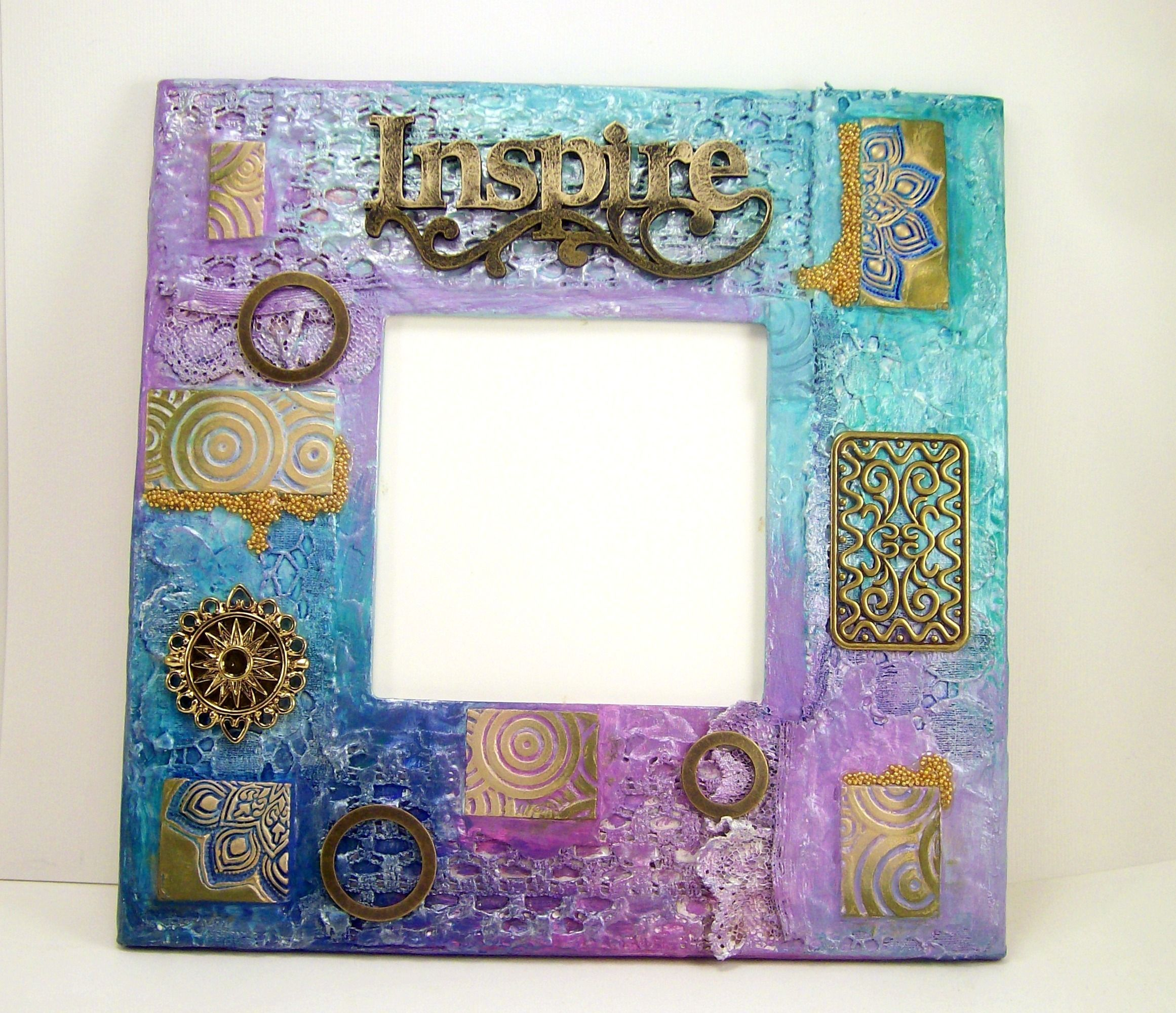 Best Photo Frame Mixed Media Turquoise And Purple Home Decor Frame Clay Tiles Polymer Clay Crafts 400 x 300