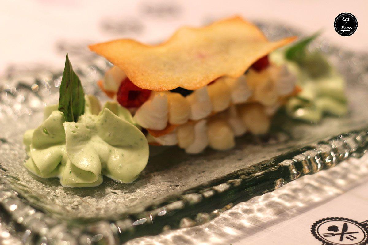 Milhojas de crema y frambuesa - Bache restaurante - Madrid