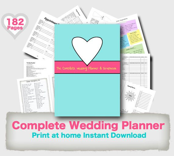 Diy Wedding Planner Binder Printable Teal Fuchsia  Yellow