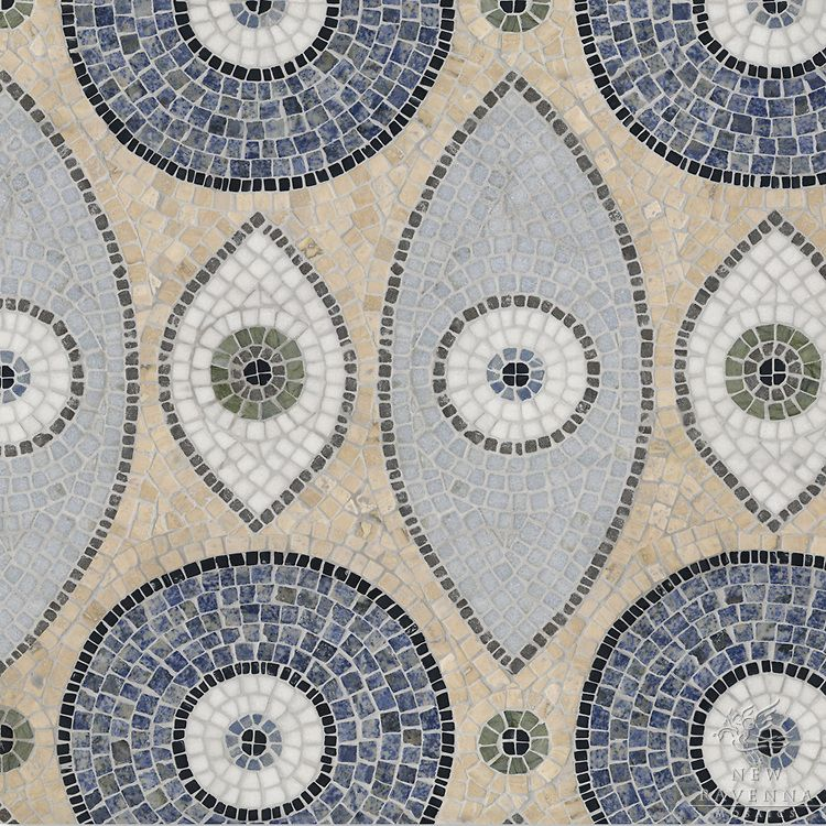 Amulet A Hand Cut Natural Stone Mosaic Is Shown In Blue Bahia - Blue travertine natural stone tiles
