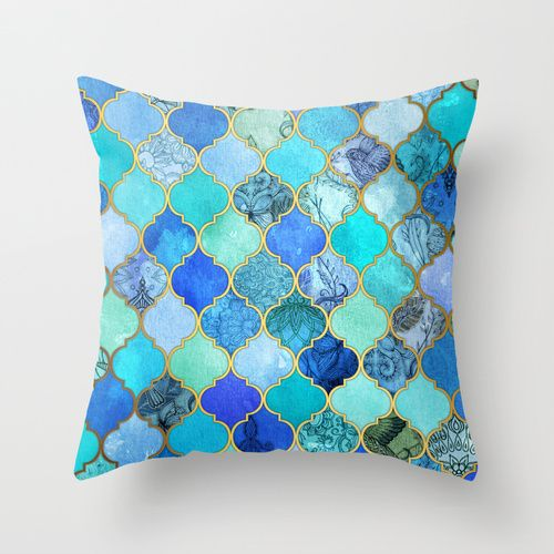 Cobalt Blue Aqua Gold Decorative Moroccan Tile Pattern Throw Pillow 幾何学模様 インテリア デザイン