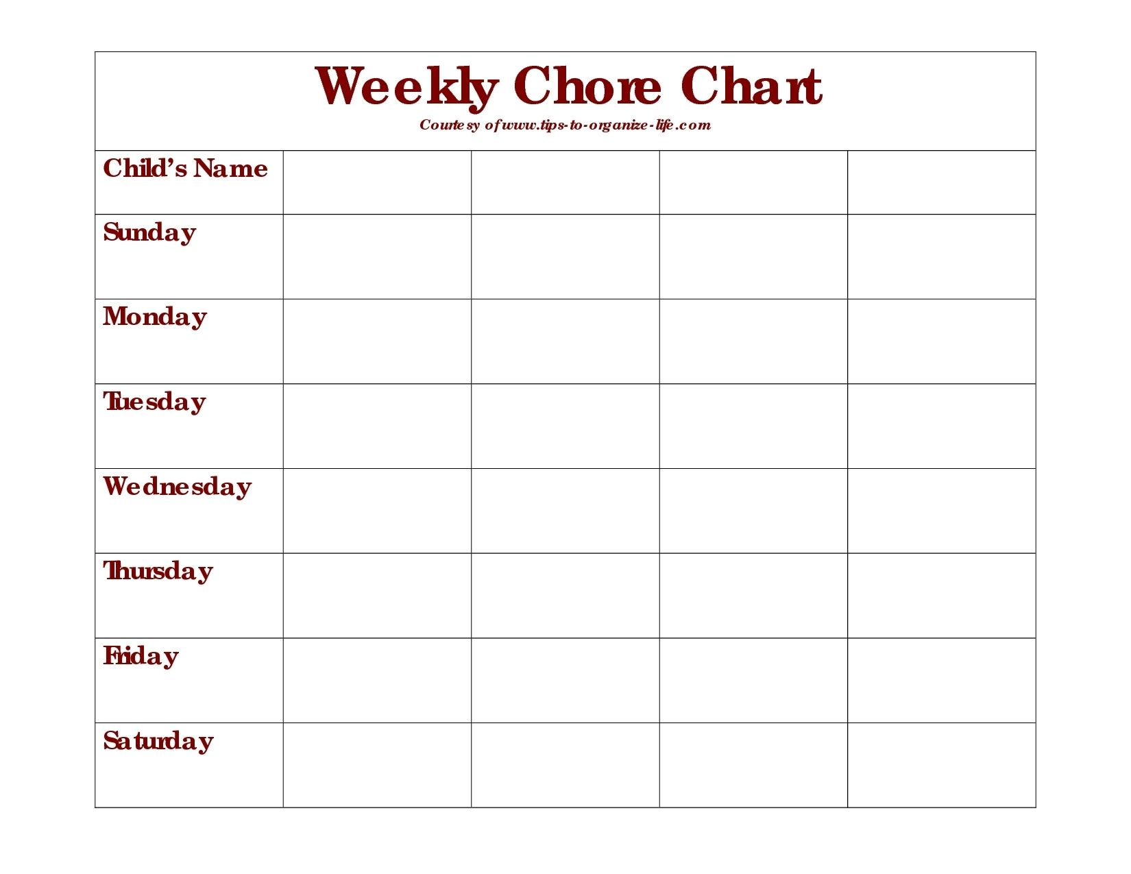 graphic regarding Blank Chore Charts Printable named Every day Chore Chart Printable - Ibov.jonathandedecker within just