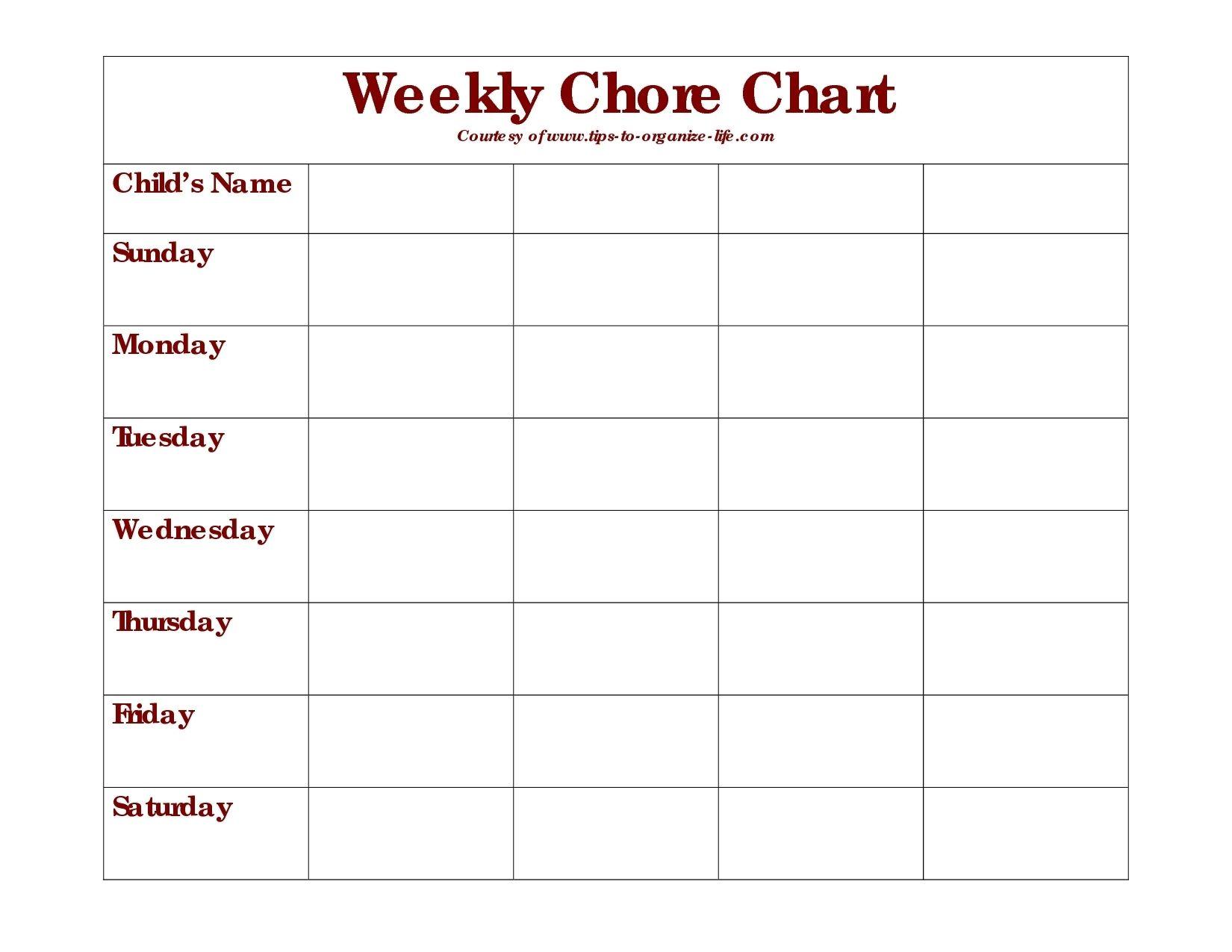 picture regarding Printable Blank Chore Chart titled Everyday Chore Chart Printable - Ibov.jonathandedecker inside