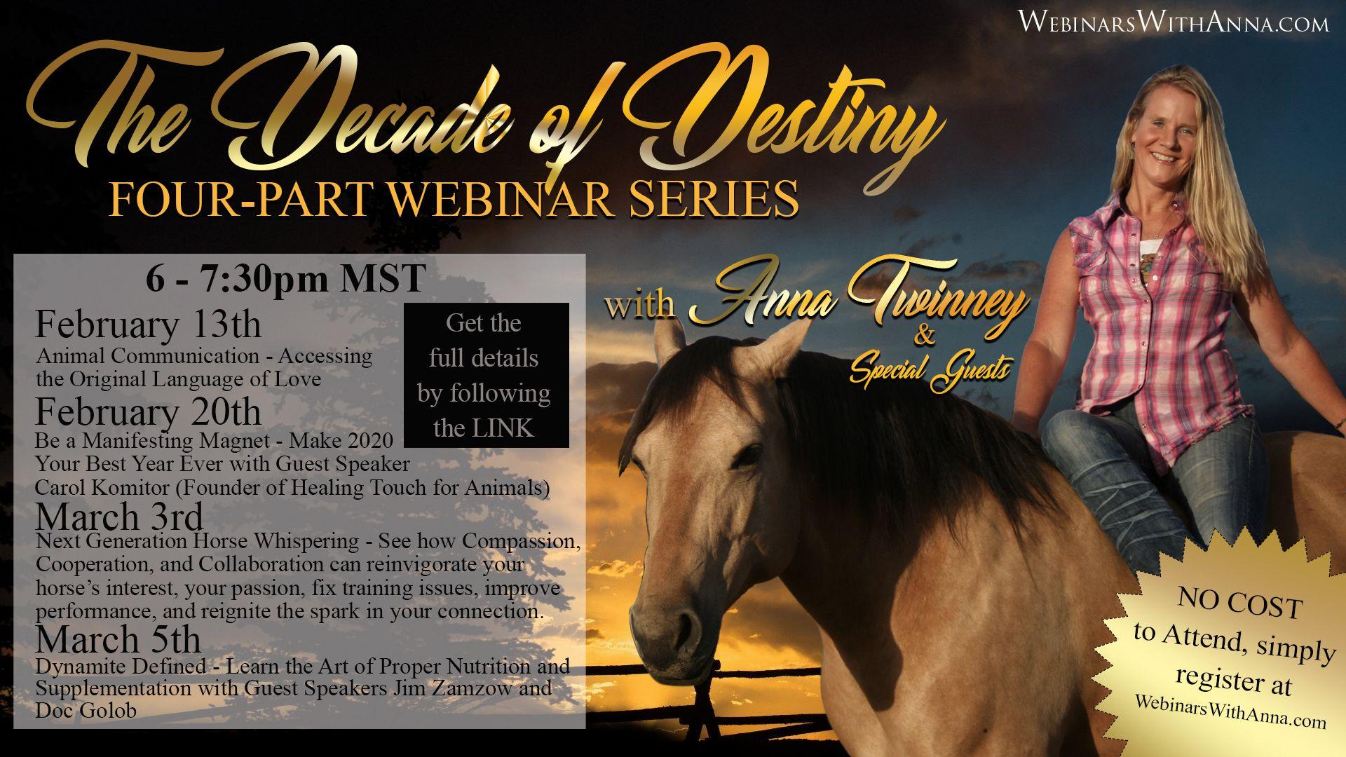 The Decade Of Destiny 4 Part Free Webinar Series In 2020 Webinar Free Webinar Healing Touch